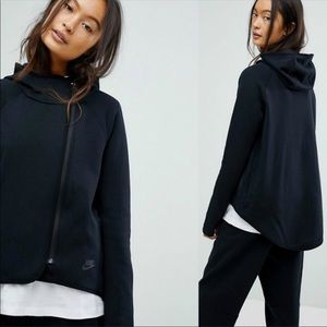 NIKE Black Asymmetrical Zip Hoodie - Size Large